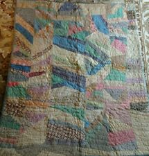 Antique WELL USED Feed Sack & Other CRAZY Hand Stitched Quilt AS IS