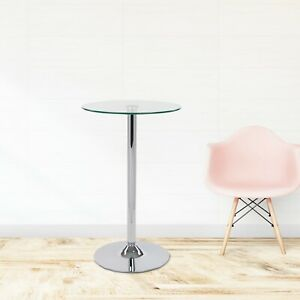 Round Clear Glass Dining Table 1m Tall - Kitchen Food Drinks Chrome Bar Stand