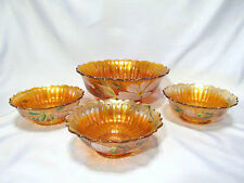 FENTON STIPPLED RAYS DESSERT SET IN MARIGOLD HAND PAINTED MAGNOLIAS VERY RARE