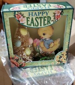 NWT RAZ Happy Easter Chick Bottle Brush Egg Tree Shadow Box Spring Decoration