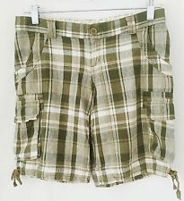 NO BOUNDARIES Shorts Green Plaid Juniors Size 3/5 Linen Rayon Cargo Pockets