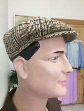 Original Vintage Men's 60s 70s Hat Cap , Check Stripe , Made In England , Retro