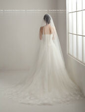 Luxury Cathedral Wedding Veil Crystal Simple 3M Long Bridal Veils Ivory New