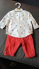 M&S Autograph 2 Part 100%Cotton 'Boats' Top & Trousers Set 0-1m 54cm Multi BNWT