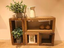 "Solid Oak Modular Rustic Shelving Cubes Chunky Units Free Standing 12"" deep"