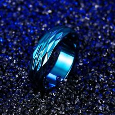 Blue Stainless Steel Titanium Band Ring Size12 USA SELLER