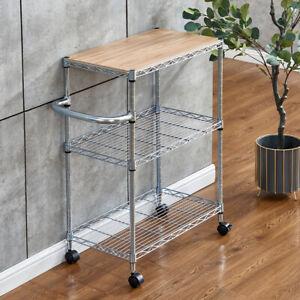 3 Tier Kitchen Cart Metal Mesh Basket Trolley Food Vegetable Storage Rack Mobile