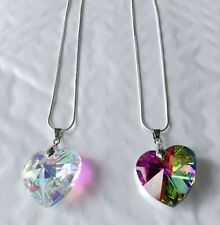 heart Top Statement-Necklace-Crystal Pendant chian-Chunky-Prom-Bridal-Jewelry
