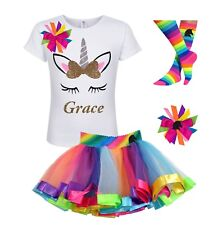 Bubblegum Divas Personalized Unicorn Shirt Rainbow Tutu Outfit Girl Birthday 4PC