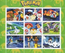 POKEMON Gameboy Nintendo Cartoon Tagikistan 2000 Gomma integra, non linguellato FRANCOBOLLO SHEETLET