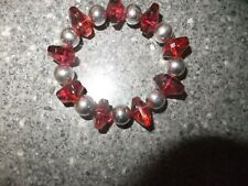 SILVER BALL AND RED BEAD ELASTIC BANGLE