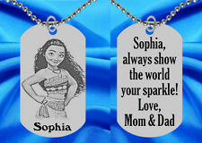 MOANA Dog Tag Necklace for Kids, Personalized FREE with NAME! ID Necklace