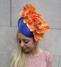 Orange Royal Blue Orchid Flower Saucer Disc Hat Fascinator Headband Races 6259