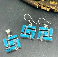 NWT Turquoise 925 Sterling Silver Inlay Earrings & Pendant set from Taxco Mexico