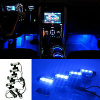 4x 3 LED Car Charge Glow Interior Decorative 4in1 Atmosphere Blue Light Lamp 12V