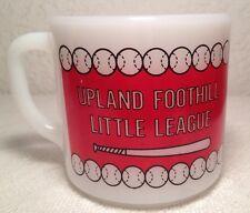Vintage Federal Milk Glass Upland Foothill Little League Coffee Mug Cup Baseball