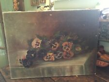 Lovely Antique Vintage Oil On Canvas Of Pansies Early 1900's