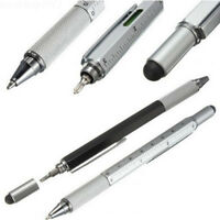 6 in 1 Touch Screen Stylus Ballpoint Pen with Level Ruler Screwdriver Multi-tool