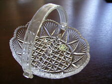 Hoya Cut Glass Divided Basket with removable handle