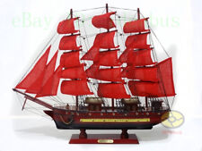 "Handmade WOOD MODEL(23.6""length)red Sailing Boat Tall Ship Sailer Nautical decor"