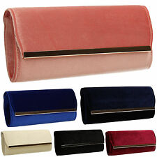 Womens Trendy Suede Velvet Ladies Evening Party Prom Clutch Bag Pink Navy Blue
