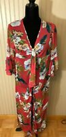 Hayden Los Angeles Floral Printed Maxi Kimono Duster Small Pink Cover-up