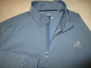 Mens - ADIDAS GOLF - 1/2 Zip Polo Pullover Jacket Periwinkle Blue Grey XL