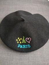 Classic Black 100% Wool Beret Paris & Eiffel Tower French France One Size