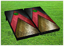 VINYL WRAPS Cornhole Boards DECALS Black Red Gold BagToss Game Stickers 844