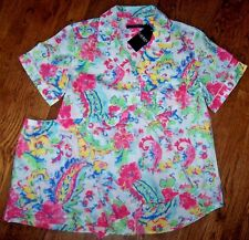 NWT Ralph Lauren White/Pink/Blue FLORAL PAISLEY Pajamas SHORTS/Top Set L LIGHT