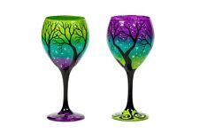 ORIGINAL Rebecca Suriano Artisan Handcrafted Hand Painted Wine Glasses Trees