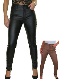 ICE Womens High Waist Skinny Stretch Leather Look Jeans 10-20