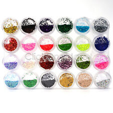 24 Sparkle Glitter Dust Powder Hexagon Nail Art Decoration 1mm