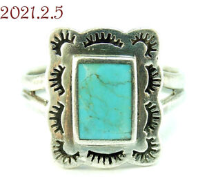 Estate Rectangle Southwestern Turquoise Sterling Silver 925 Ring Size 7.25