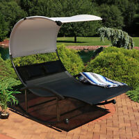 Sunnydaze Double Chaise Rocking Lounge with Canopy and Headrest Pillows - Black