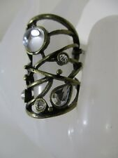 Nordstrom Antique Brass Mirror Stone Large Ring NWT $32 Sz 6