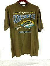 Vintage Field and Stream T Shirt Guide Service size L Mens USA Made Olive Green