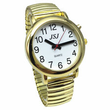 French Talking Watch with Alarm o, Golden Color, White Face