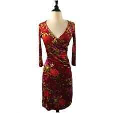 Vintage Betsey Johnson size Small Stretch Velvet Floral Bodycon Dress 4/6