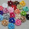 W/stone satin ribbon flowers sewingappliques craft DIY wedding Lots A014