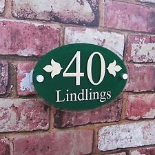 Modern Glass Effect House Sign/ Door Number Plaque OVAL COLOUR Options Avalible