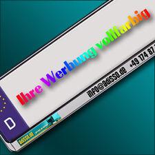 2 silberne KENNZEICHENHALTER mit Wunschtext / Logo / Werbung vollfarbig BEDRUCKT