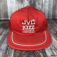 VINTAGE JVC JAZZ FESTIVAL NEWPORT RI TRUCKER HAT CAP MESH BACK SNAPBACK RED OSFM