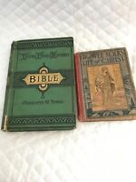 Antique Children Religious Book Young Folks History Bible, Wee Folks Life Christ