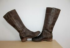 TIMBERLAND DARK BROWN LEATHER HIGH CALF PULL ON BOOTS WOMENS UK 4.5 US 7 EU 37.5