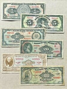 Serie de billetes de Mexico de 1-5-10-20-100-1000 pesos antiguos
