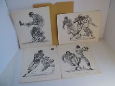 4 Robert Riger NEW YORK GIANTS FOOTBALL PLAYERS SKETCHES  1960 Shell Oil Promo