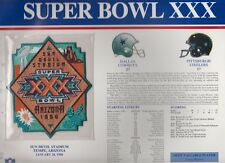 Cowboys vs Steelers Super Bowl 30 Commemorative Patch Sealed in 9x12 Display