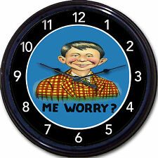 """Alfred E Neuman Mad Magazine What Me Worry? Mascot Wall Clock New 10"""""""