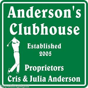 Personalized Golf Golfing golfer Clubhouse Gift Bar Sign #1 Custom USA Made